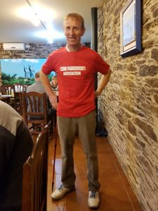 Ted in his red Cork Parkinson's Association t-shirt