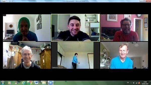 screenshot image showing online physio class attendees